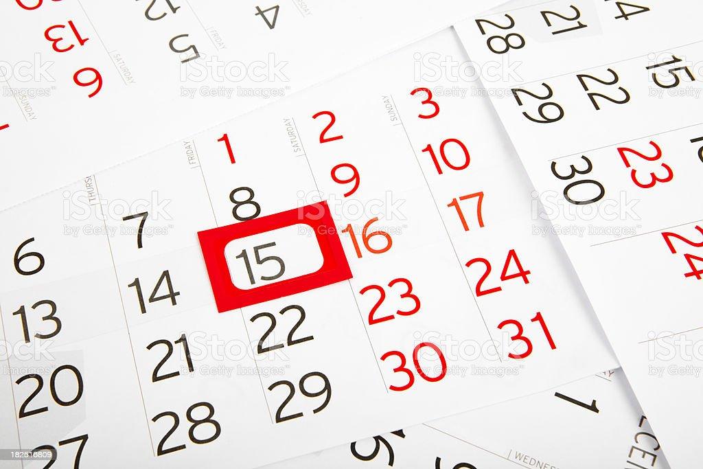 Calendar 15.Day stock photo
