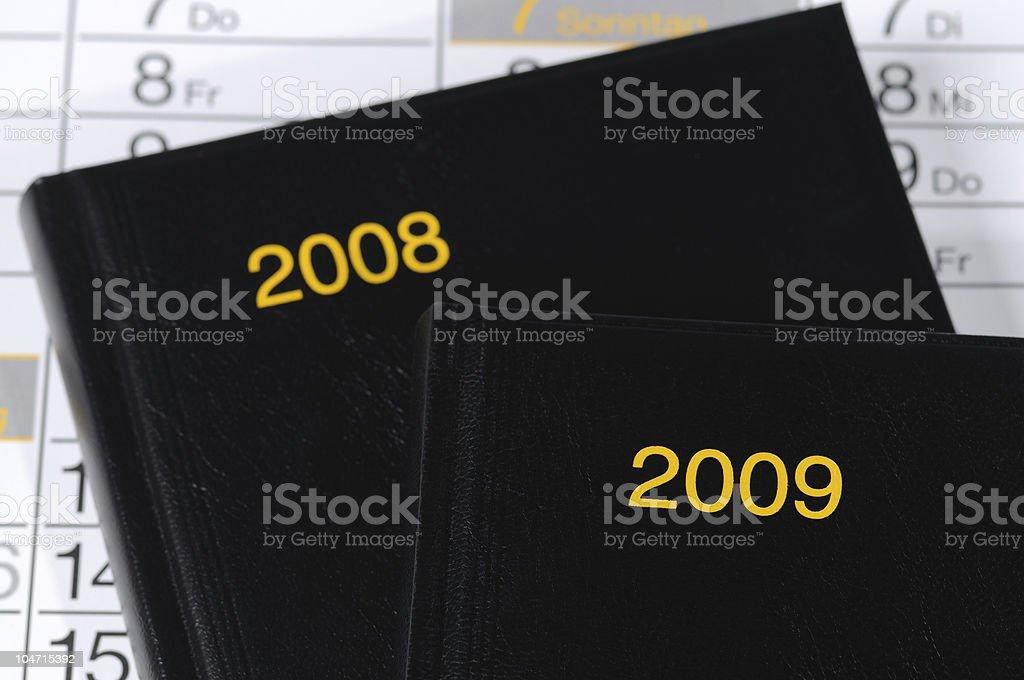 Calendar 2008 and 2009 Books stock photo