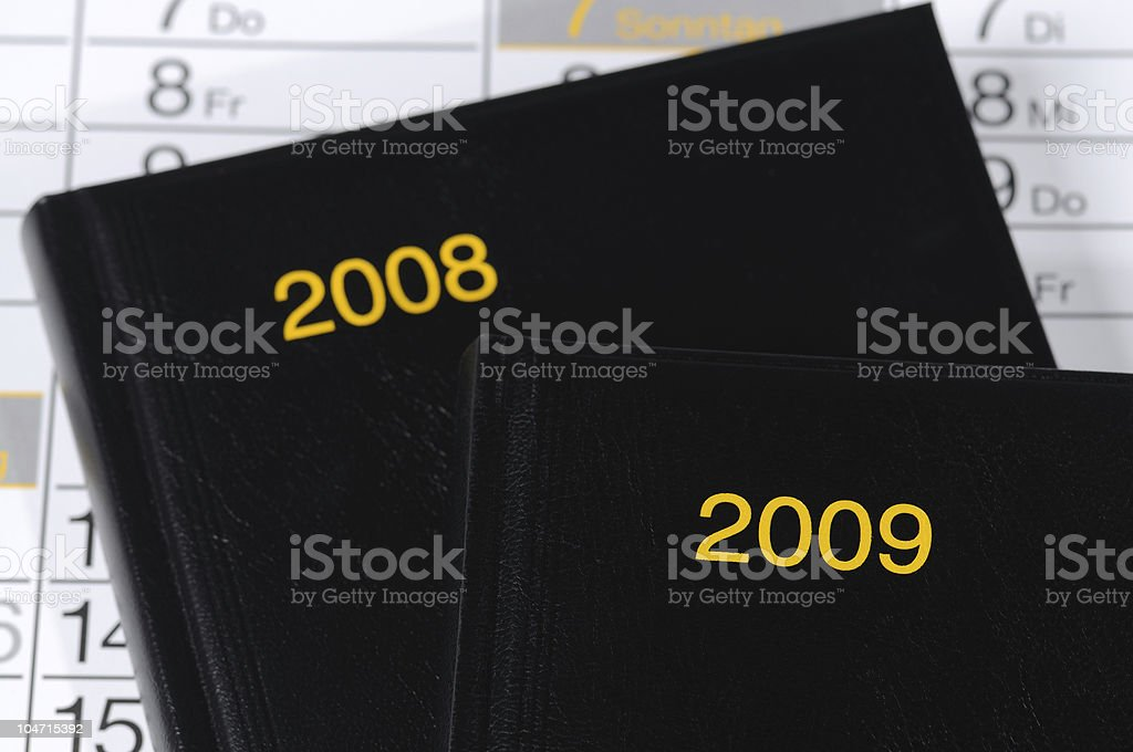 Calendar 2008 and 2009 Books stock photo