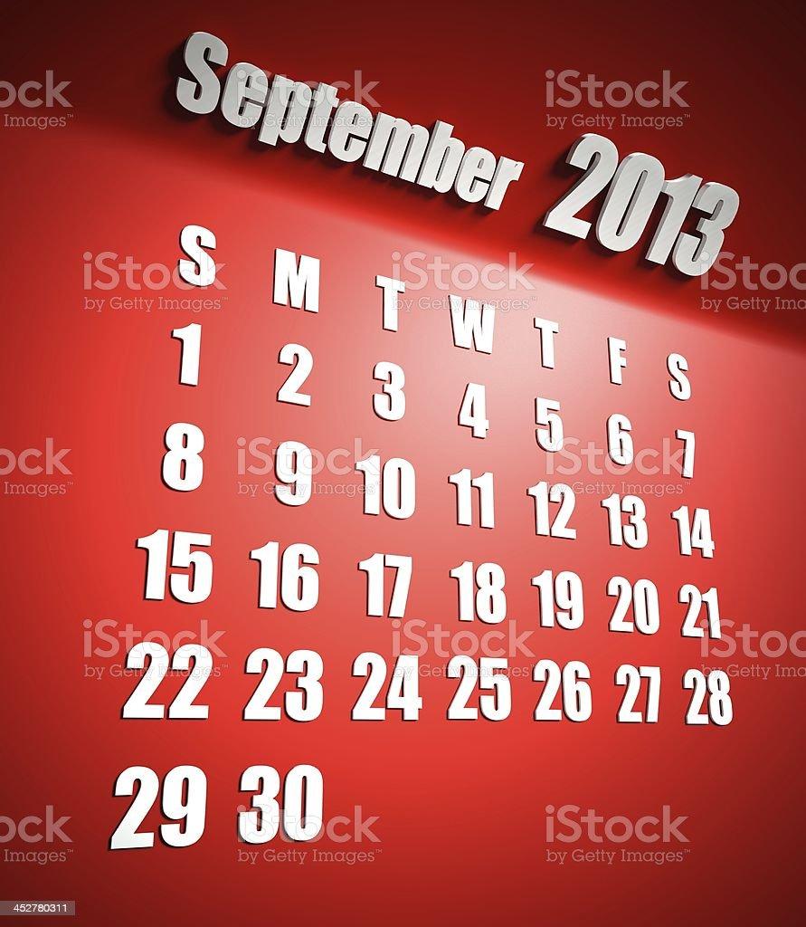 Calendar 2013 september red background royalty-free stock photo