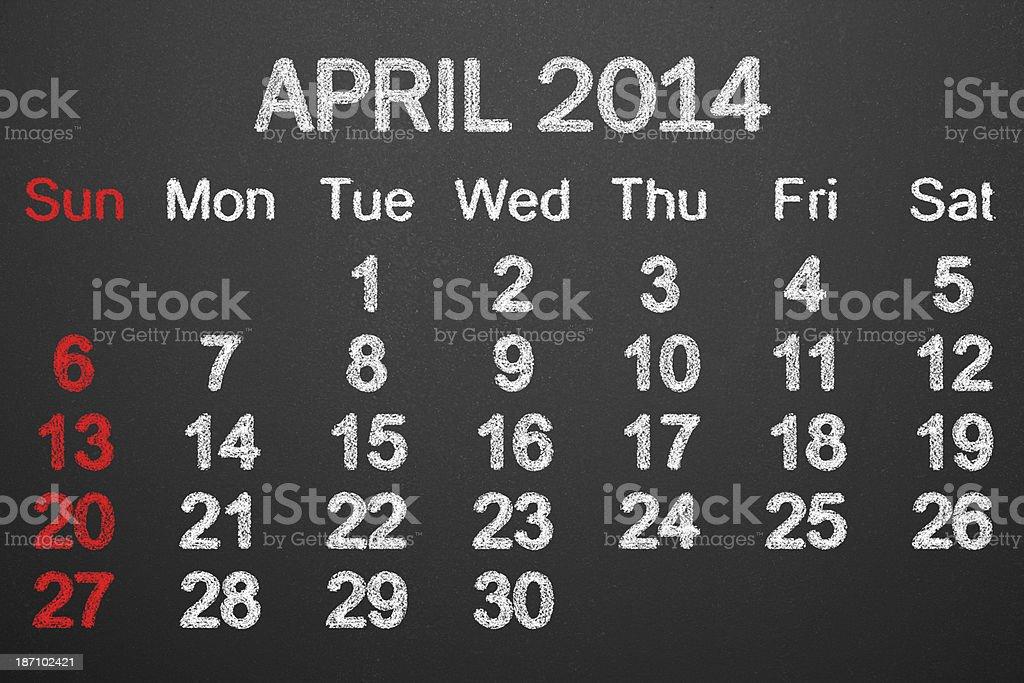 Calendar 2014 April royalty-free stock photo