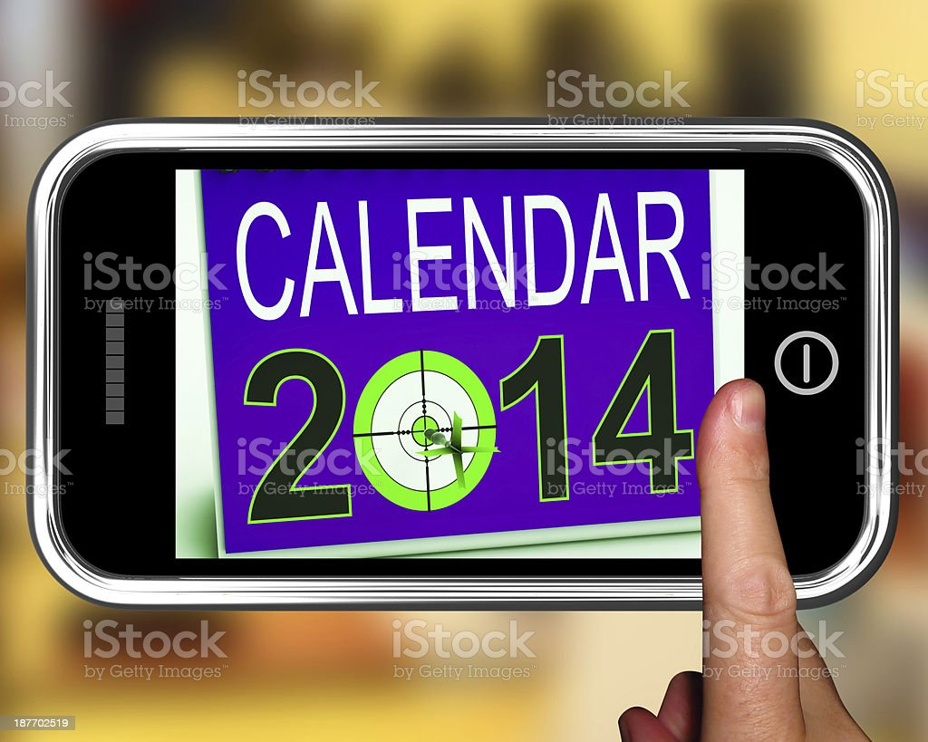 Calendar 2014 On Smartphone Shows Future Missions royalty-free stock photo