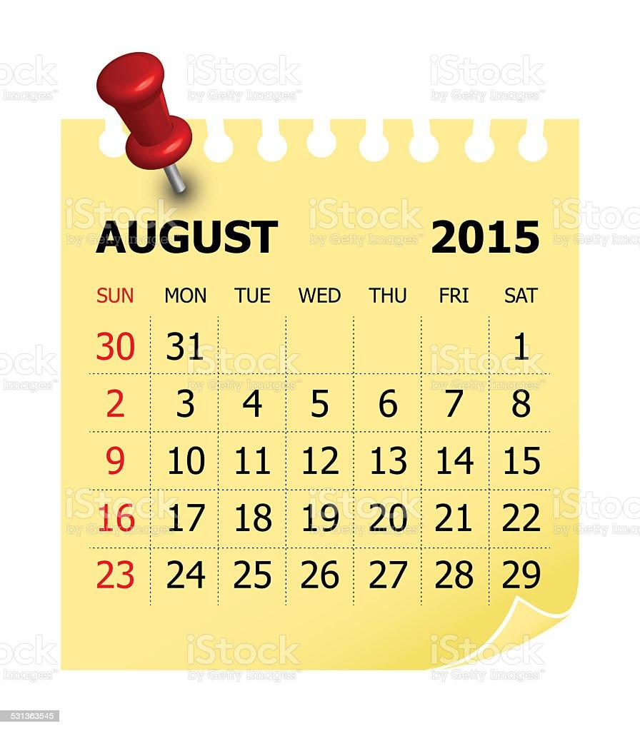 Calendar 2015 - August stock photo