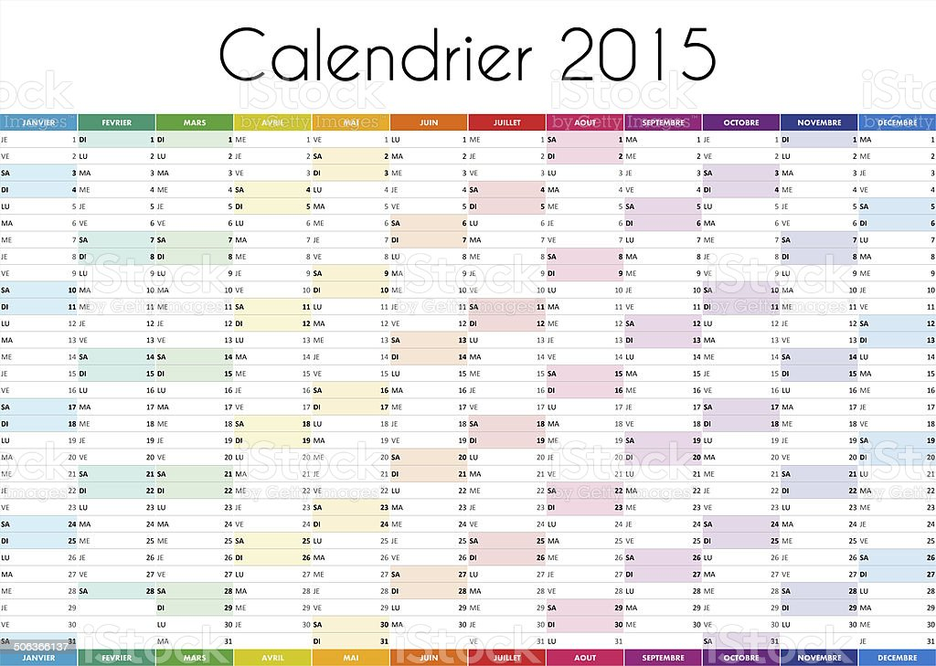 Calendrier 2015 - VERSION FRANCAISE stock photo