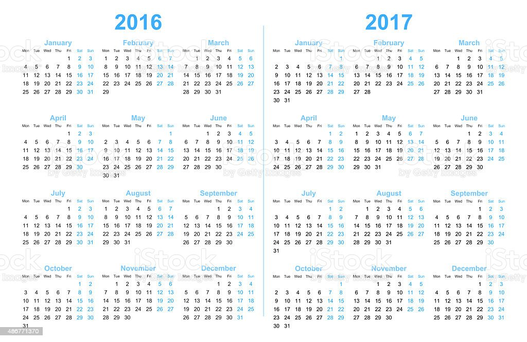 Calendar 2016 and 2017 stock photo