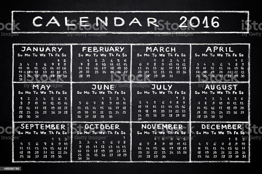 Calendar 2016 stock photo