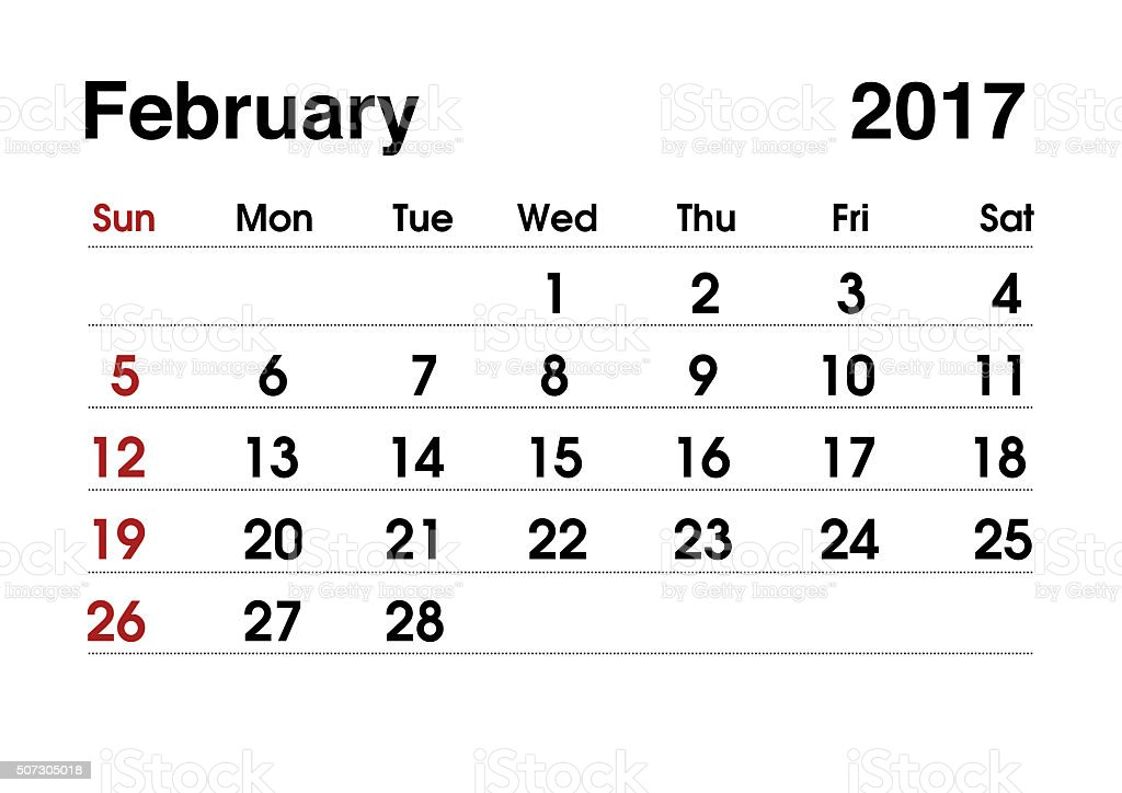Calendar 2017. Planning calendar for February 2017. Vector template. stock photo