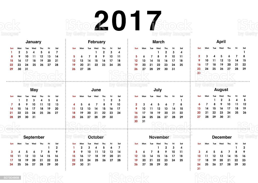 Calendar 2017. Planning calendar for January 2017. Vector template. stock photo