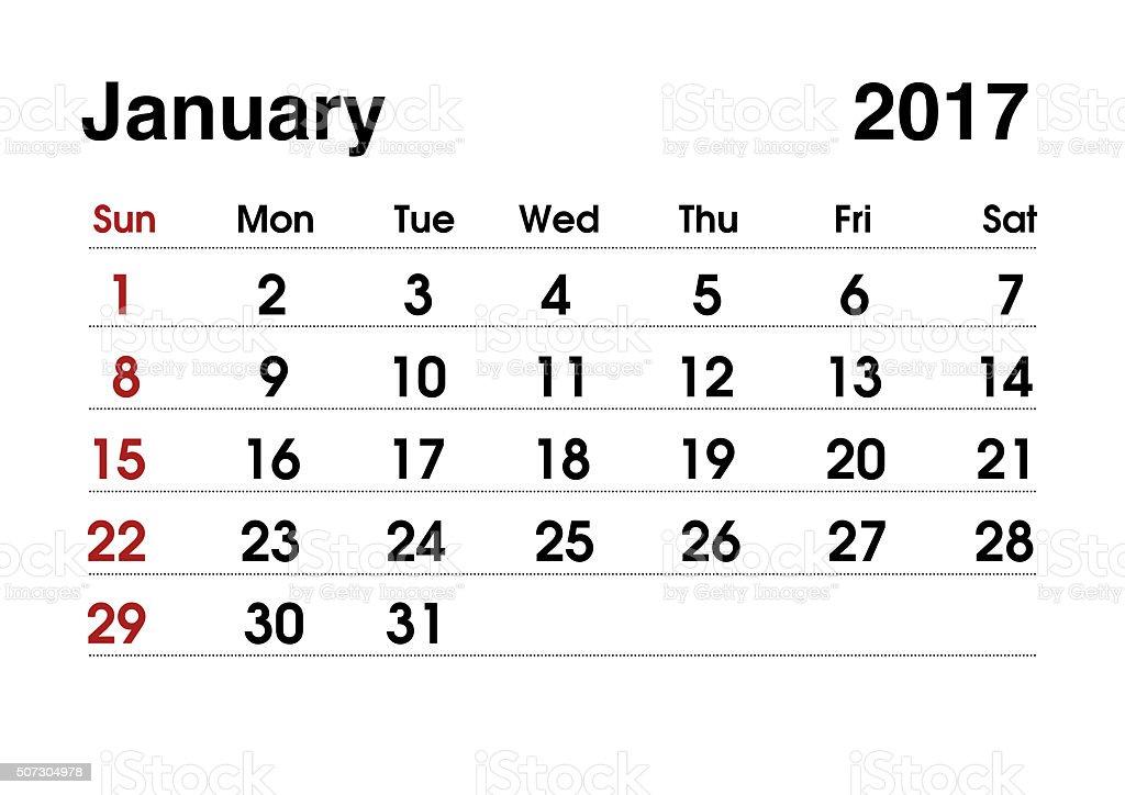 Calendar 2017. Planning calendar for January 2017. Vector template. stock photo