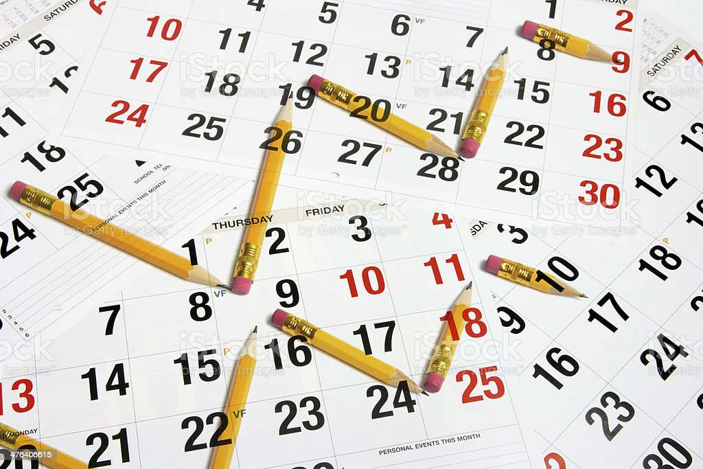 Calendar and Pencils royalty-free stock photo