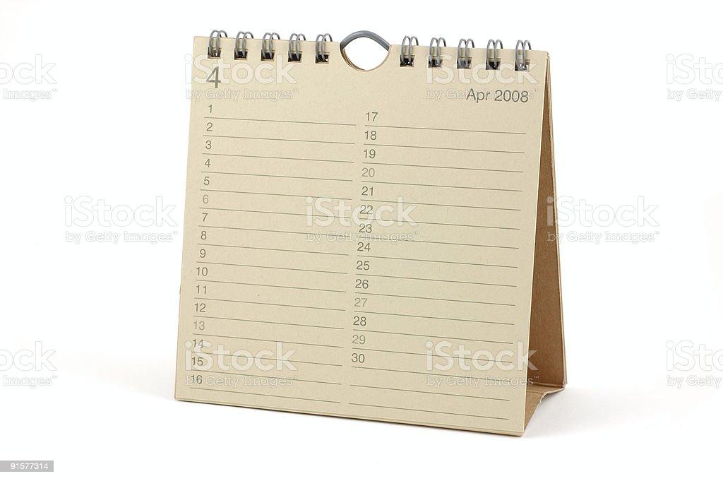 Calendar - April 2008 royalty-free stock photo
