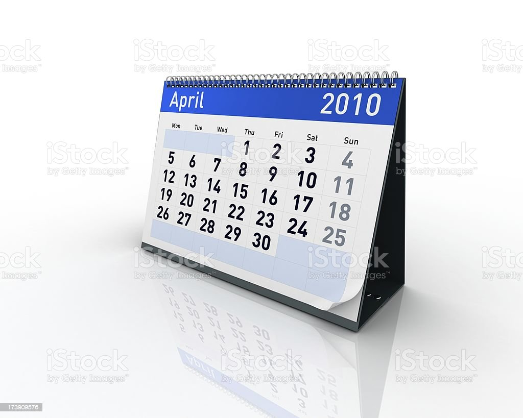 Calendar - April 2010 royalty-free stock photo