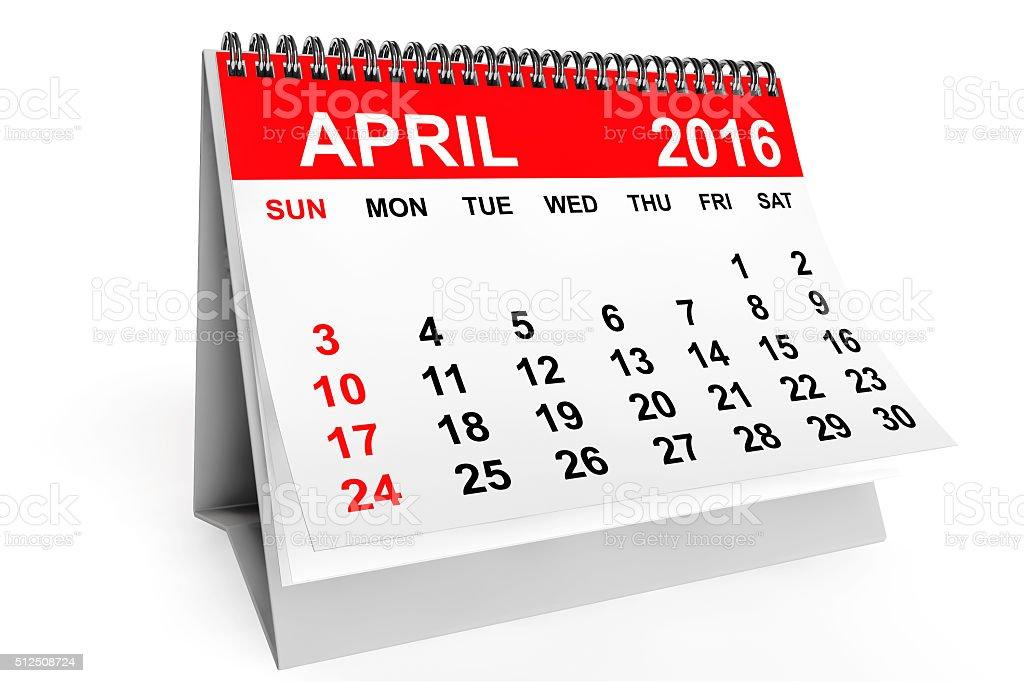Calendar April 2016 stock photo