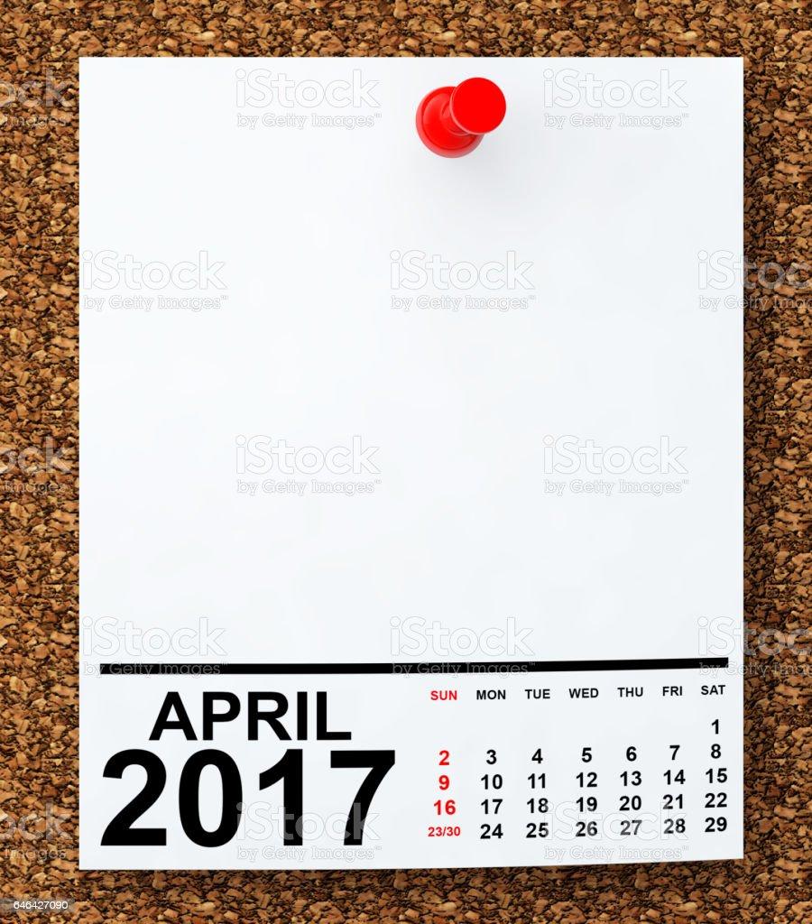 Calendar April 2017. 3d Rendering stock photo