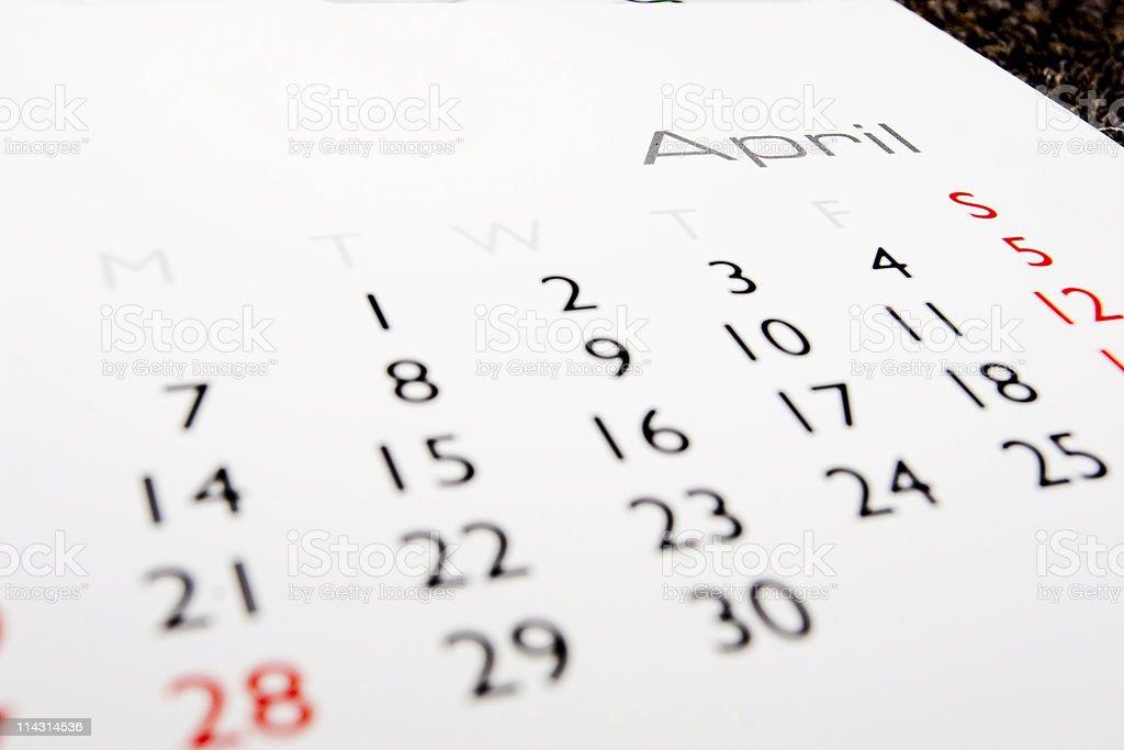 Calendar: April royalty-free stock photo