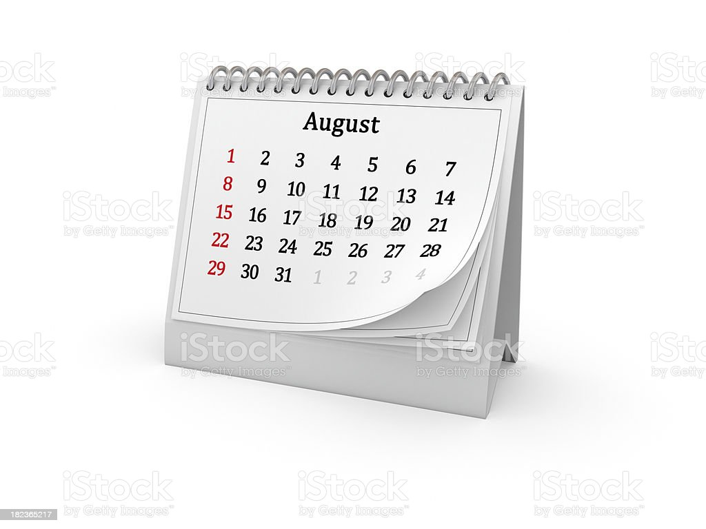 Calendar. August 2010. royalty-free stock photo