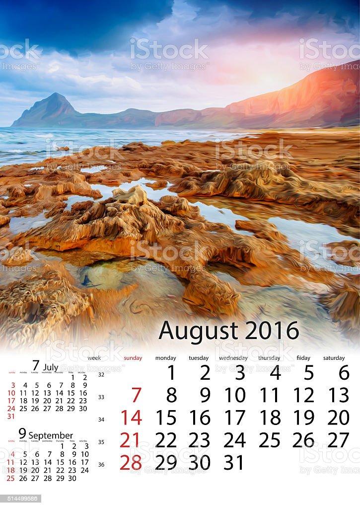 Calendar August 2016 - Spring panorama of sea stock photo