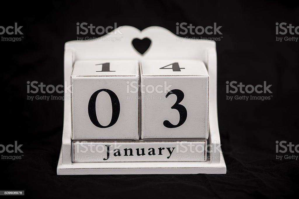 Calendar cubes January stock photo