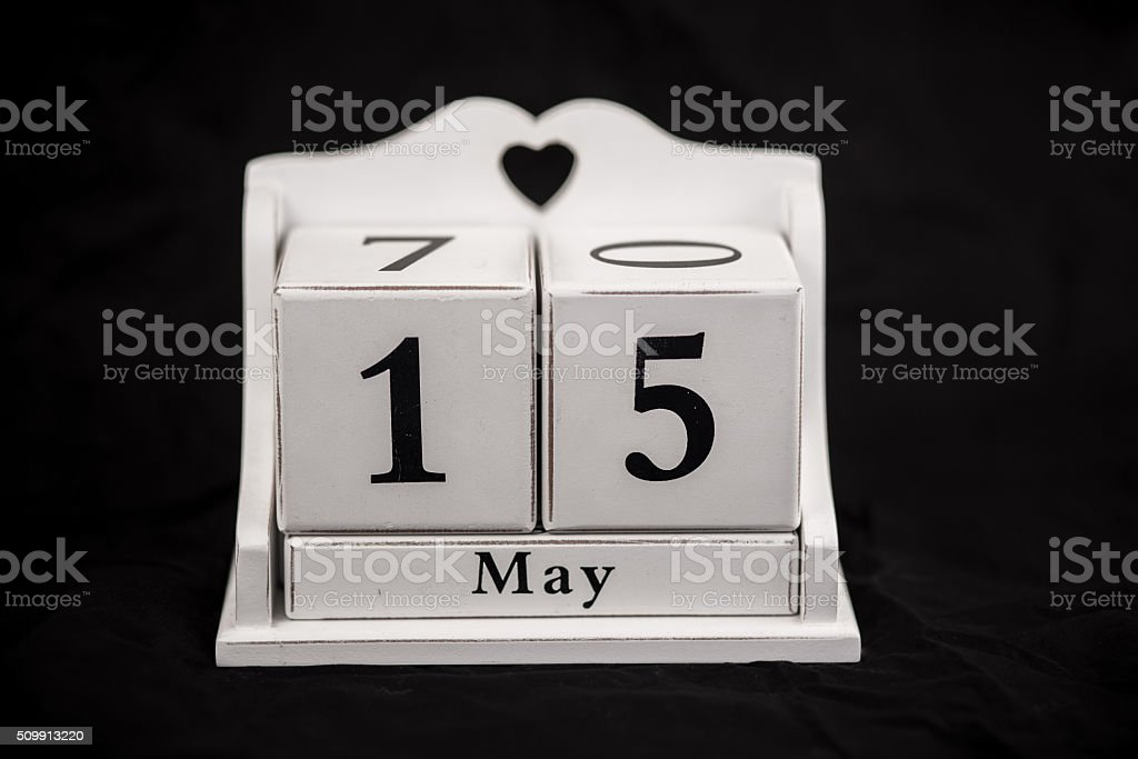 Calendar cubes May, fifteenth, 15, 15th stock photo