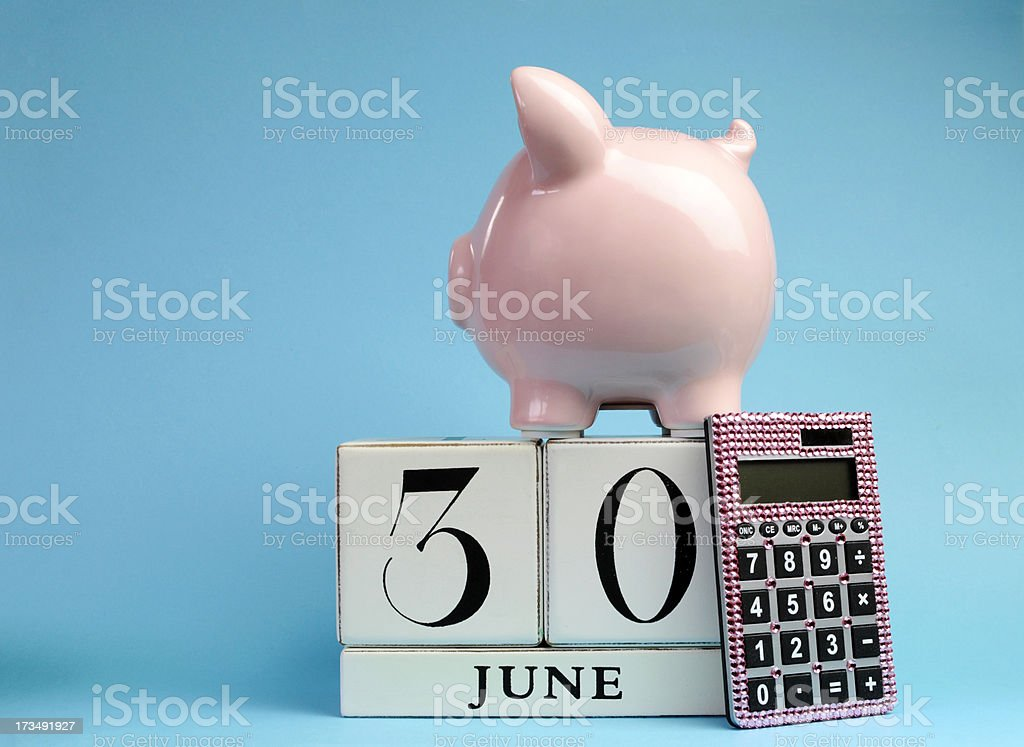 Calendar date, 30 June, for end of Australian tax year stock photo
