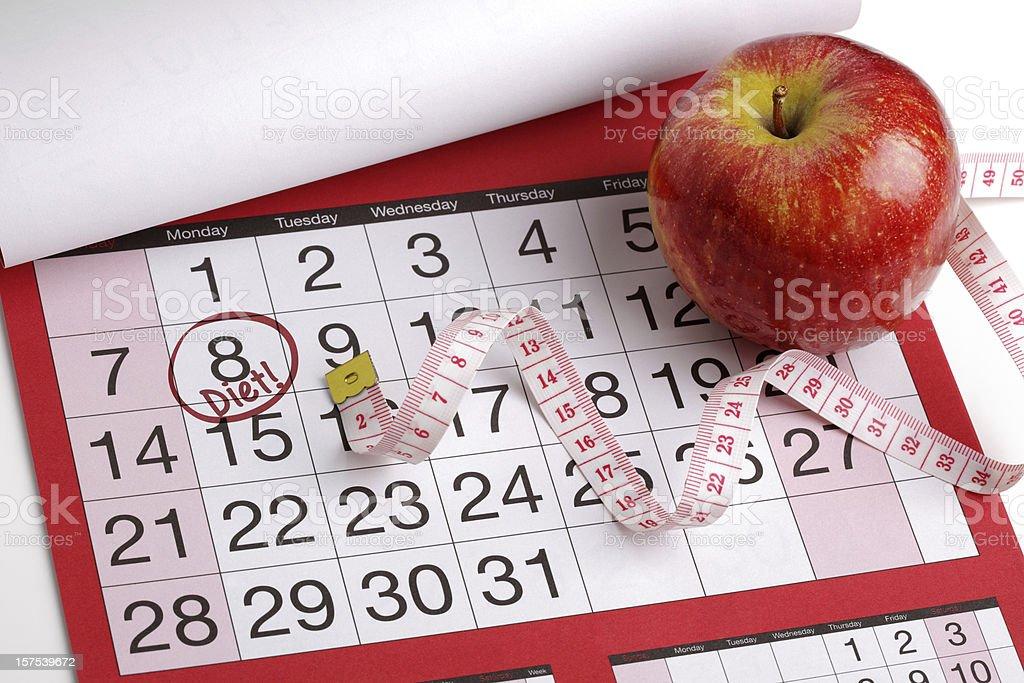 Calendar date to start a diet stock photo