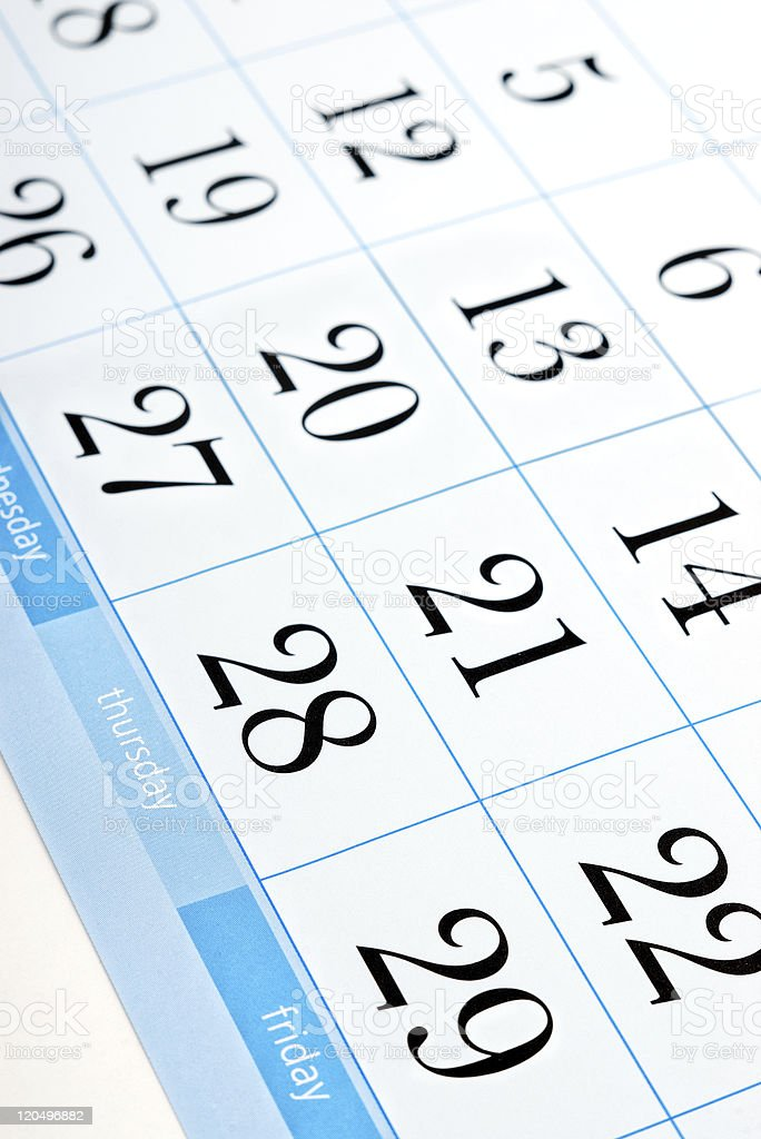 calendar dates with shallow depth of field stock photo