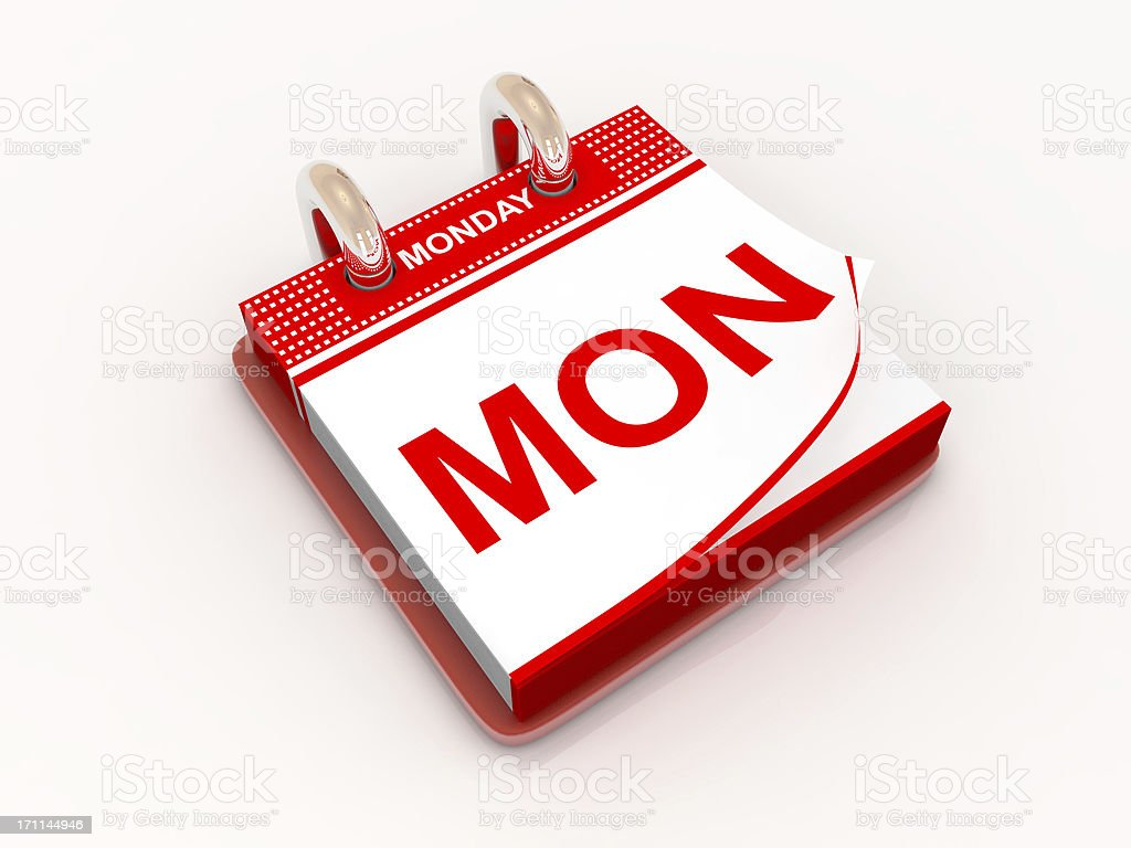 Calendar day Monday royalty-free stock photo