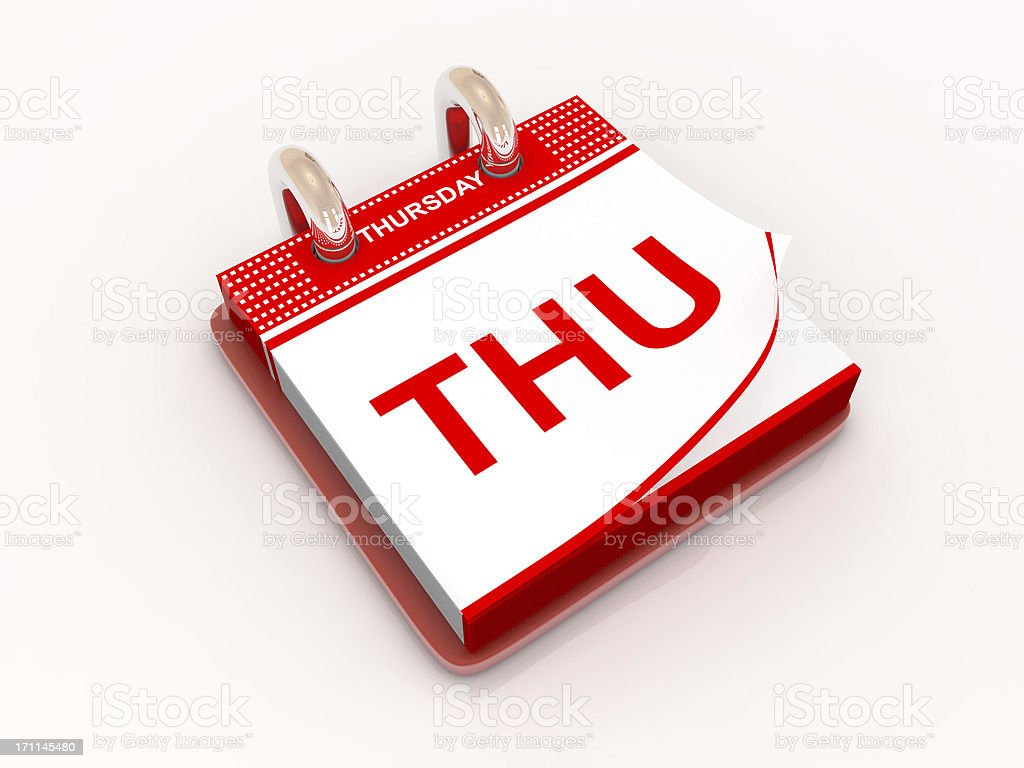 Calendar day Thursday stock photo