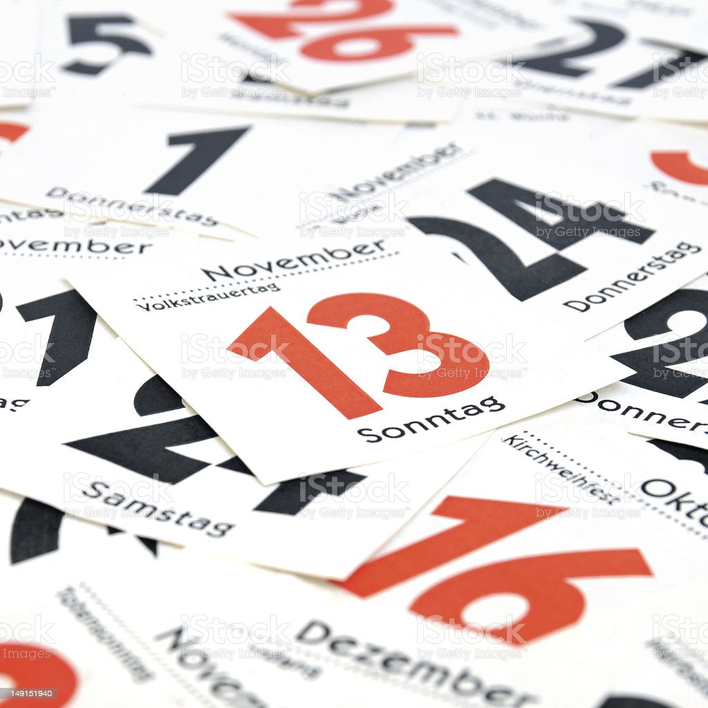 Calendar days stock photo