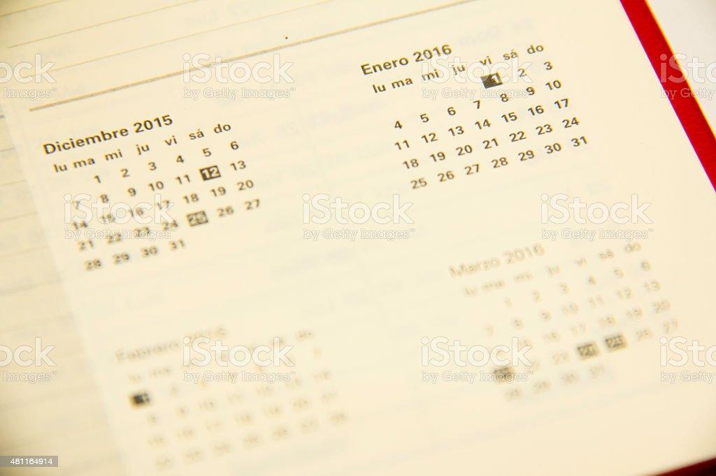 calendario dic ene stock photo