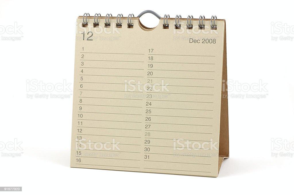 Calendar - December 2008 royalty-free stock photo