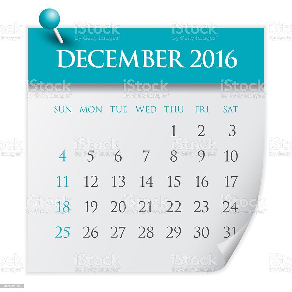 Calendar- December 2016 stock photo