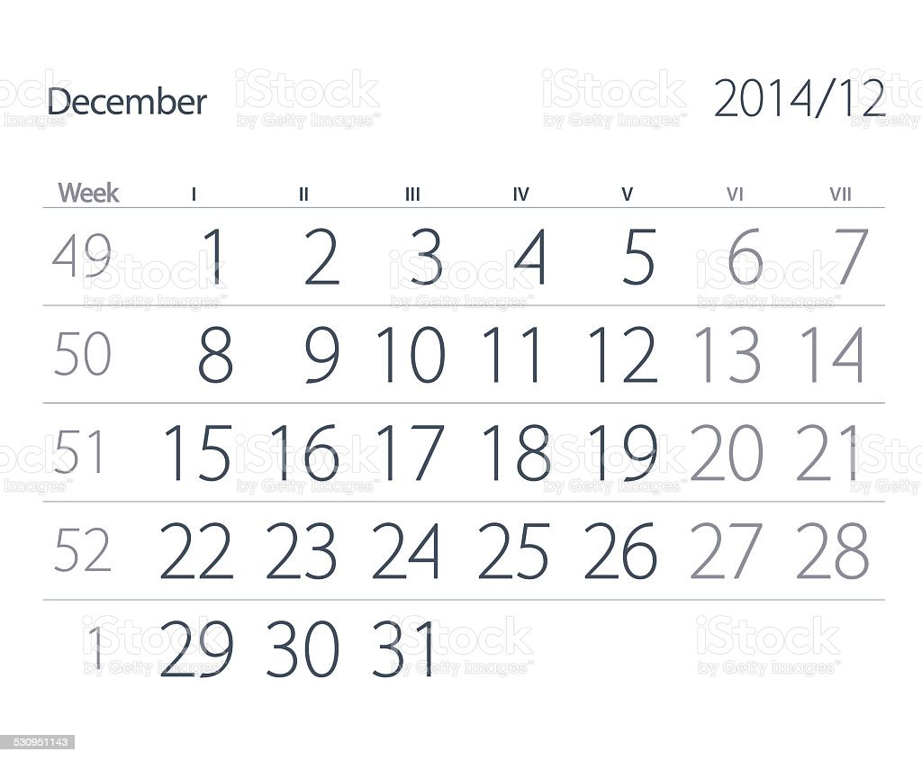 Calendar. December stock photo