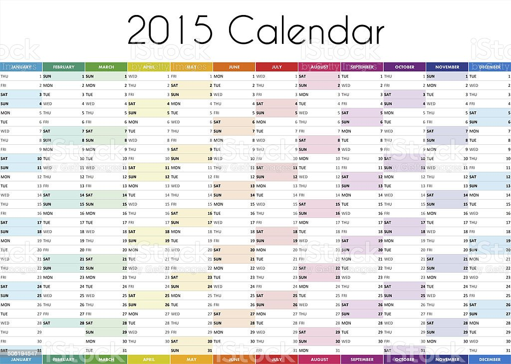 2015 Calendar - ENGLISH VERSION stock photo