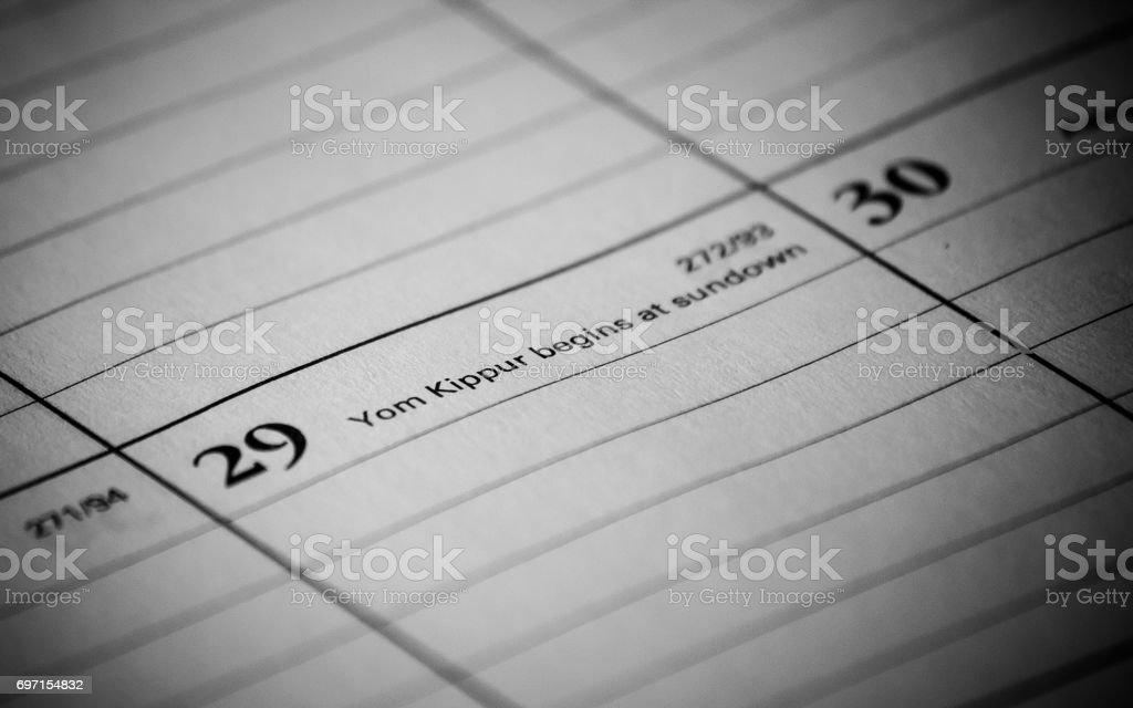 Calendar event: Yom Kipur stock photo