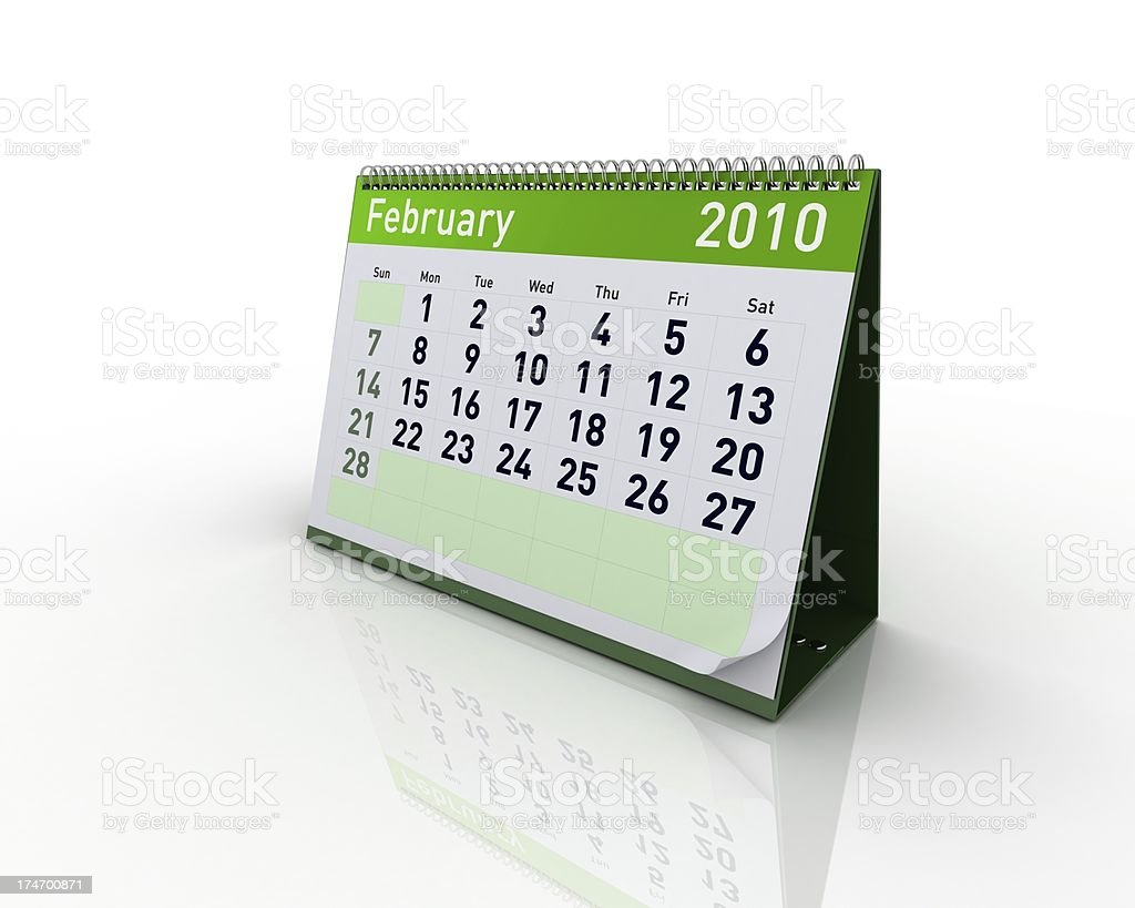 Calendar - February 2010 royalty-free stock photo