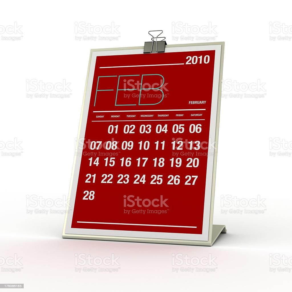 Calendar - February 2010 royalty-free stock photo