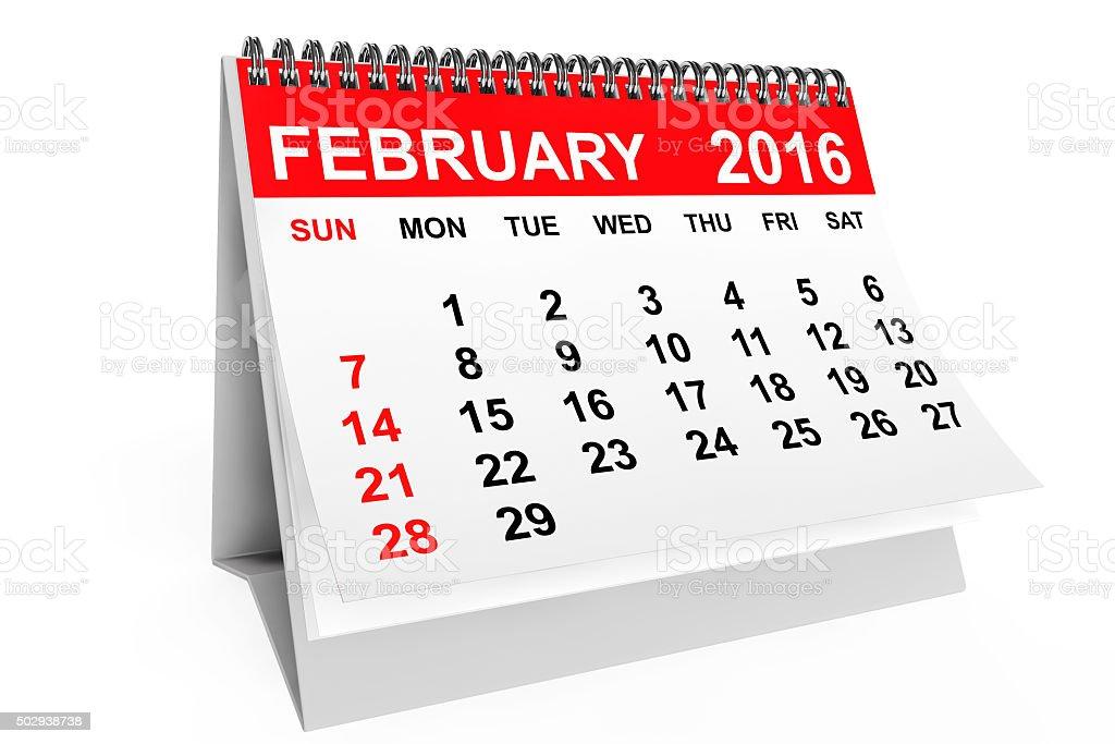 Calendar February 2016 stock photo