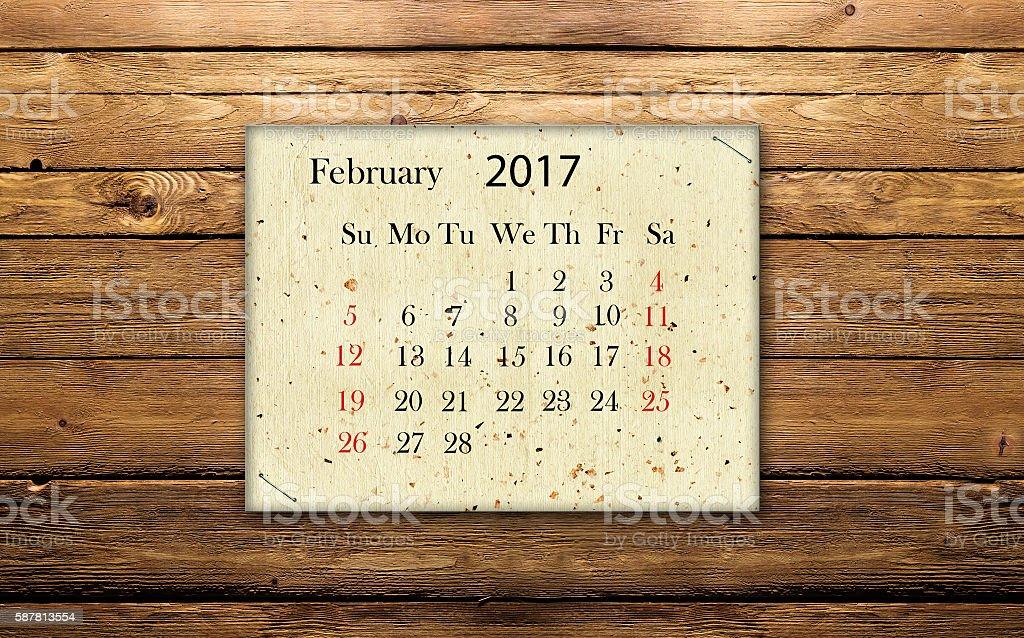 calendar February  2017 stock photo