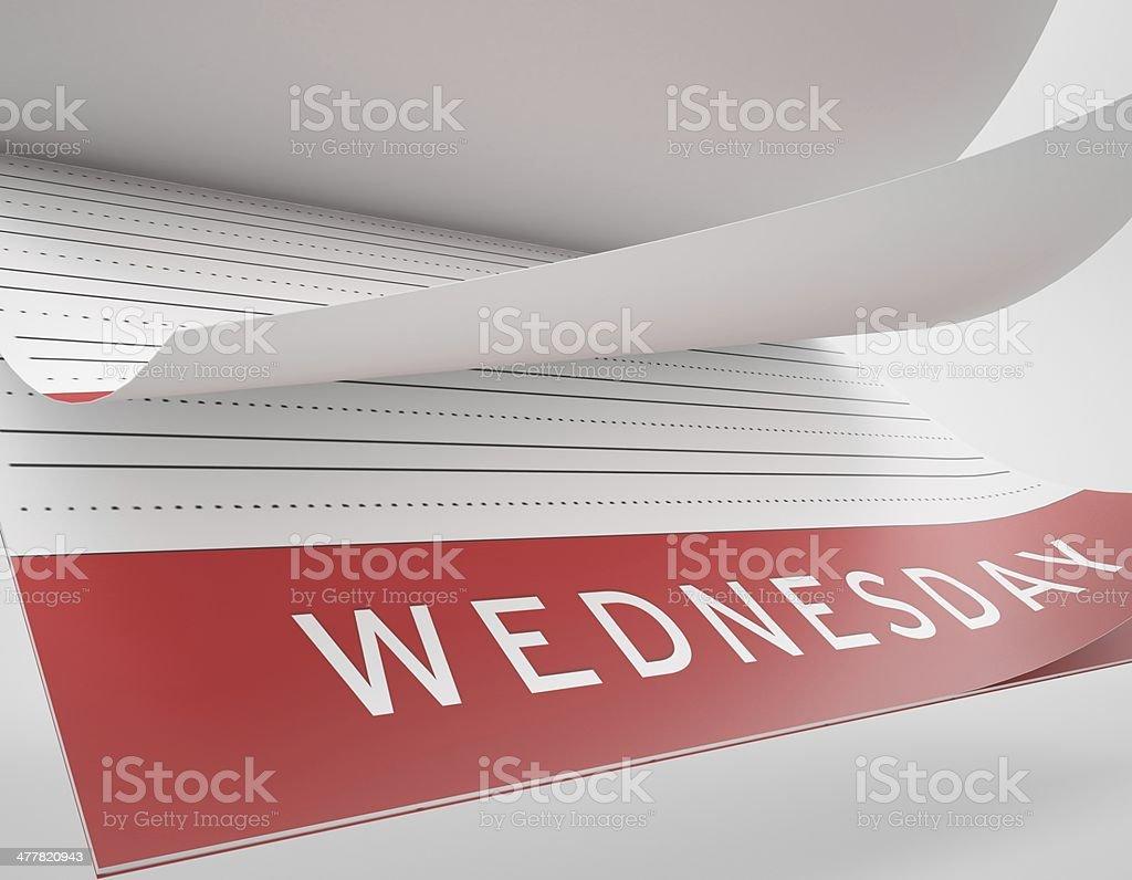 Calendar Flip - Wednesday stock photo