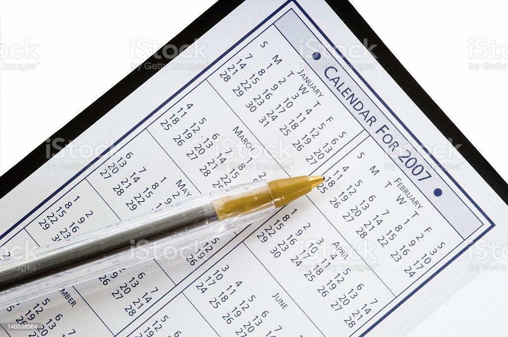 Calendar for 2007 stock photo