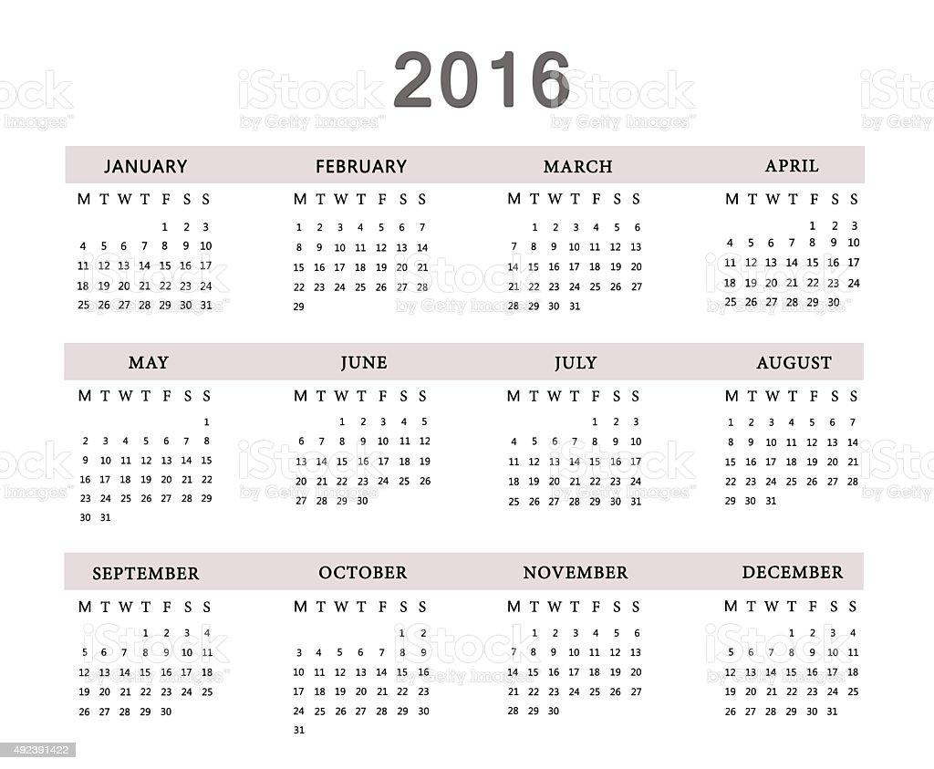 Calendar for 2016 on white background. stock photo