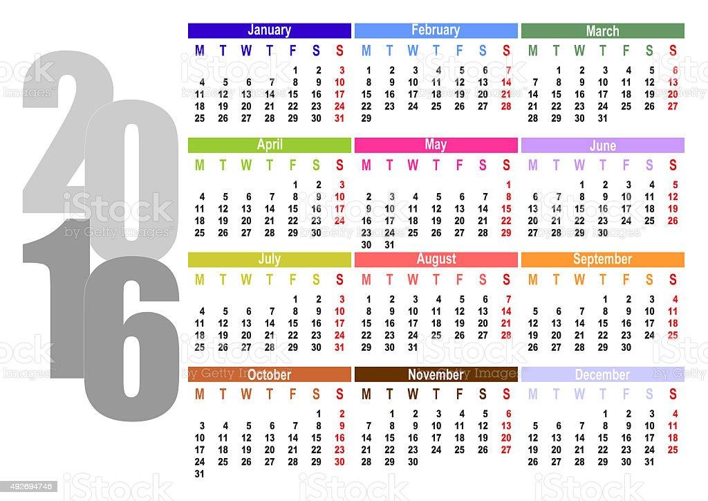 calendar for 2016 stock photo