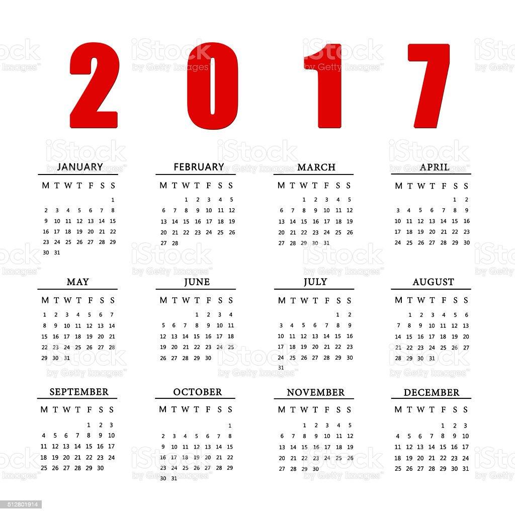 Calendar for 2017 on white background. stock photo
