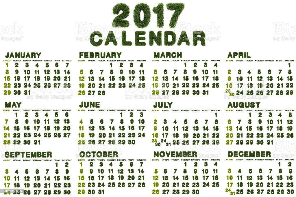 Calendar for 2017 on white background stock photo