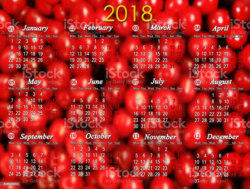 calendar for 2018 on the red cherry background stock photo