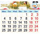 calendar for December 2017 with fabulous snowman