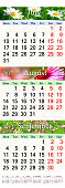 Calendar for July August September 2017 with three colored images