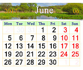 calendar for June 2017 on the background of summer
