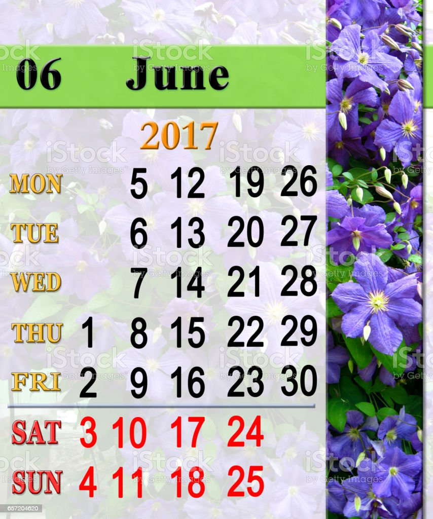 calendar for June 2017 with image of clematis stock photo